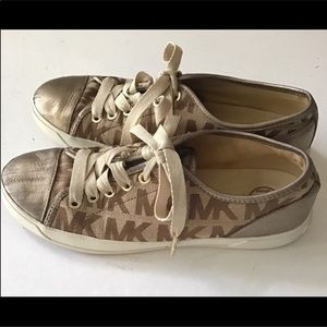 Michael Kors Gold Logo Leather Canvas Sneakers